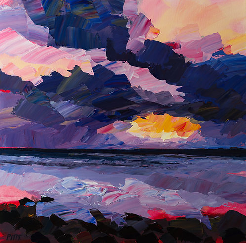 Sunset at Northcott Mouth, Bude, Cornwall - Acrylic on canvas