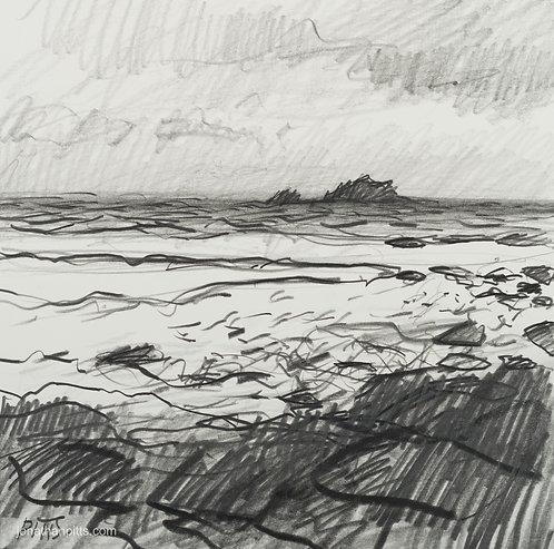 The Brisons, Priest Cove, original cornish art.