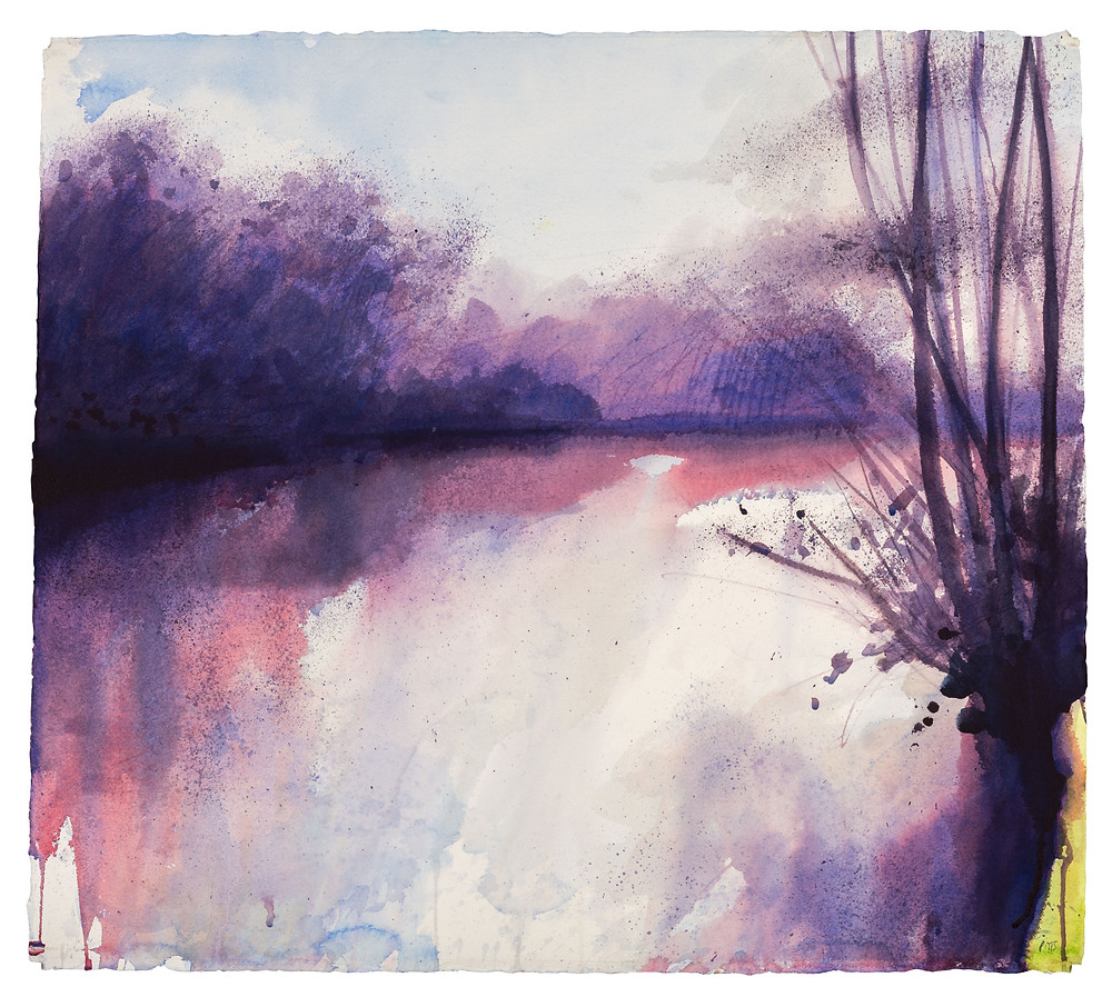 Dark Shadows as the Sun Swings Around, River Thames near Marlow. Watercolour painting by Jonathan Pitts