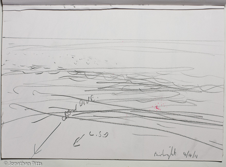 Jonathan Pitts pencil sketch of the English Channel at Fairlight