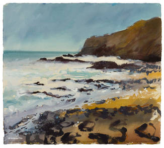 British contemporary painting on watercolour paper, evoking the afternoon light in a hazy sky, by Jonathan Pitts, Cornish art