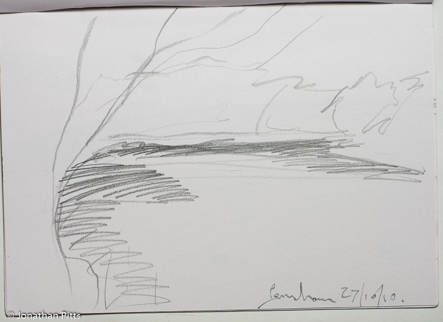 Jonathan Pitts Sketch of the River Avon in Pensham