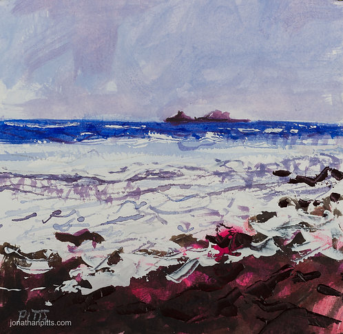 The Brisons, hazy sky, an original painting of cornwall