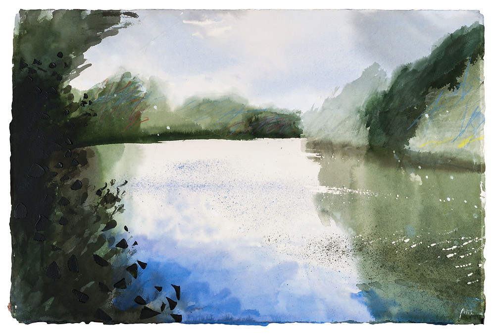 River Thames at Runnymede, watercolour painting by Jonathan Pitts.