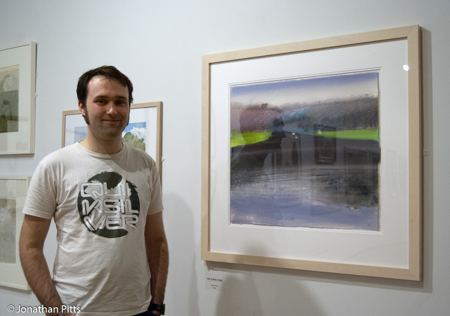 Jonathan Pitts stood in front of his 2nd prize winning painting, Twilight Pensham 141210. 2nd prize Sunday Times Watercolour Competition 2011 the Mall Galleries london