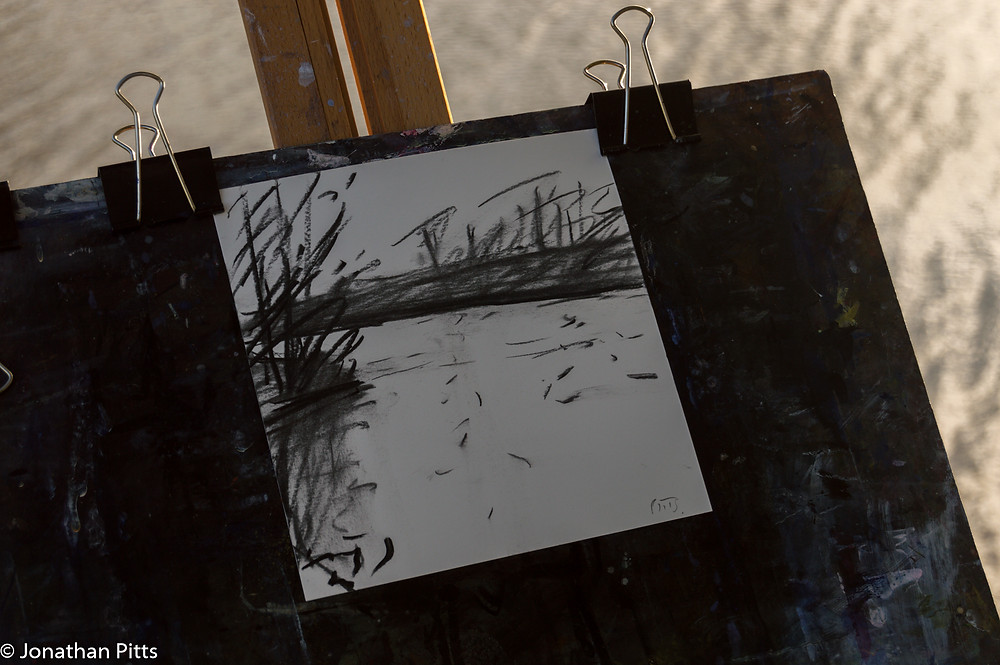 Charcoal drawing, river Thames Jonathan Pitts