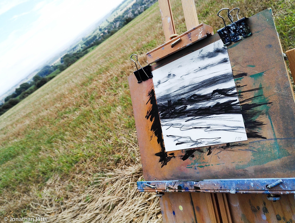 Plein air charchol, Chipping Campden, Jonathan Pitts Sunday Times Watercolour 2nd prize winner.