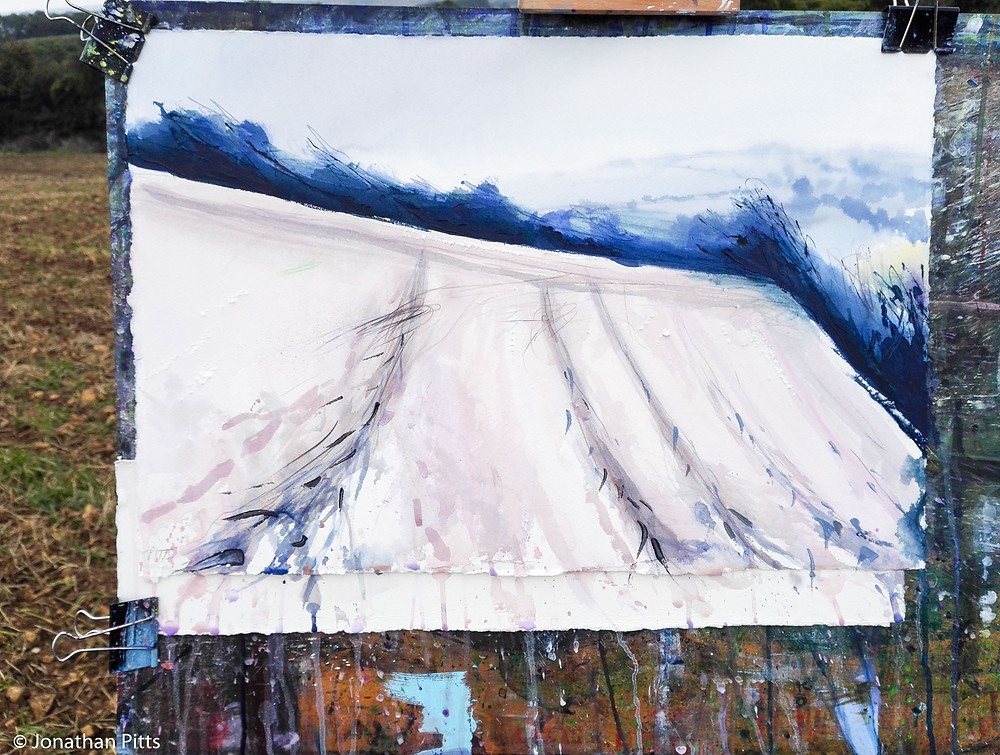 Plein air watercolour, Ebrington in the passing rain. Jonathan Pitts Sunday Times Watercolour 2nd prize winner.