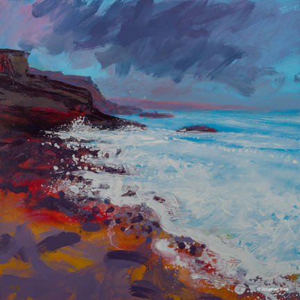 Plein air art made with the storm clouds gathering, mixed media acrylic painting by Jonathan Pitts, Cornish art