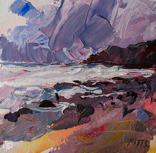 Storm Passing Northcott, Cornwall, an original painting for sale.