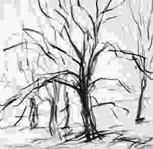 Morning, Runnymede, L.106, Pencil on paper by Jonathan Pitts available at Off the Wall Gallery in Cardiff