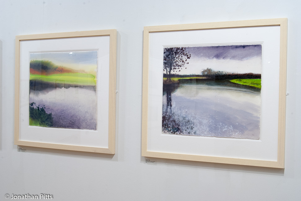Jonathan Pitts plein air mixed media paintings on display in the short listed artists room at the Sunday Times Watercolour Competition 2011 at the Mall Galleries. Paintings on the River Avon in Worcestershire