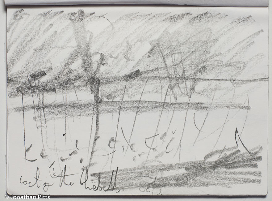 Jonathan Pitts pencil sketch at Bruen in the Cotswolds