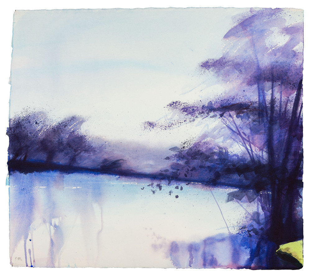 A Light Haze Hangs, River Thames near Marlow. Watercolour painting by Jonathan Pitts