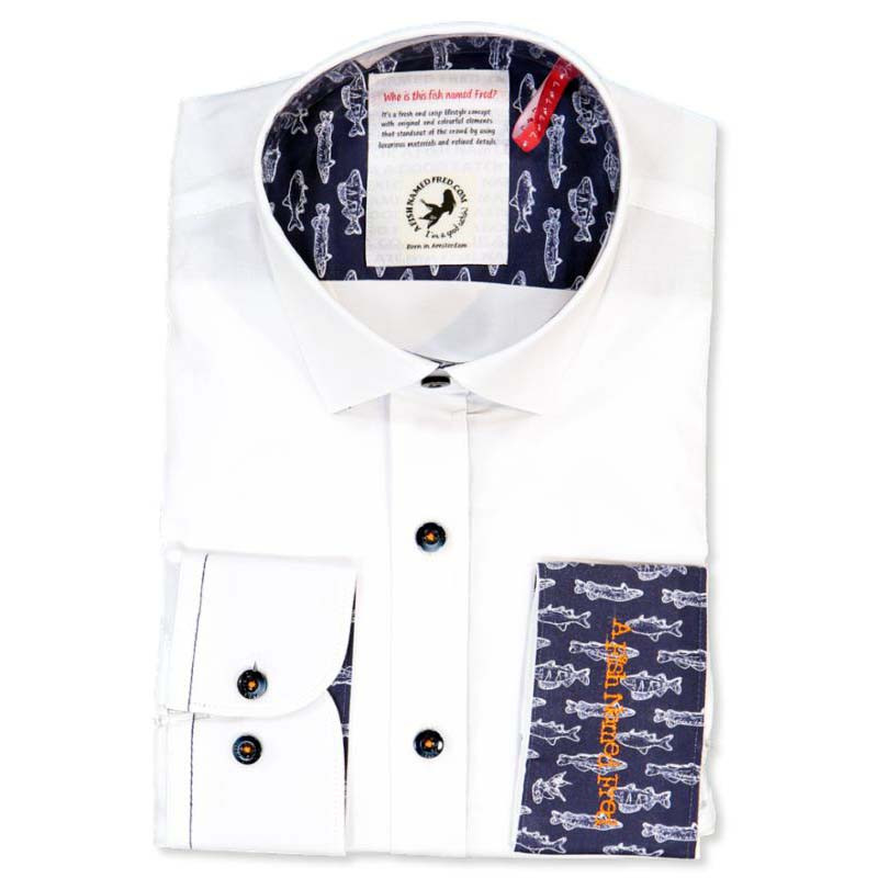 AF 81.060 A Fish Named Fred Plain Contrast Stretch Shirt