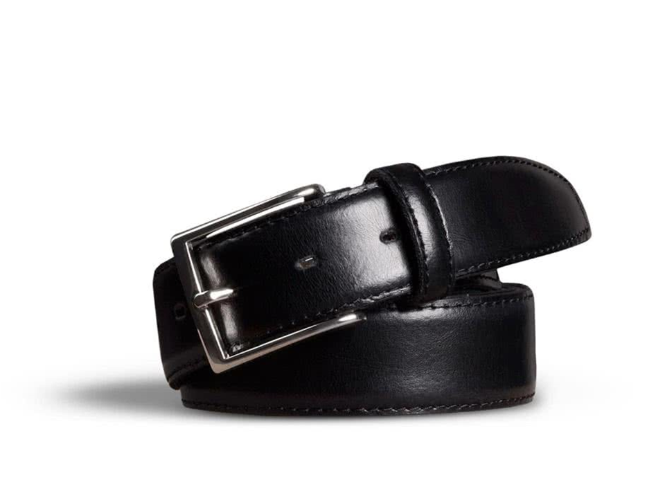 Stretch Leather Belt Black