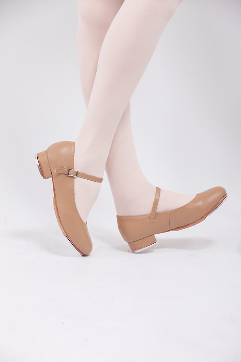 Leather Buckle Tap Shoes Beige