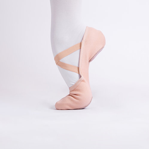 4 Way Stretch Canvas Ballet Shoes Tan