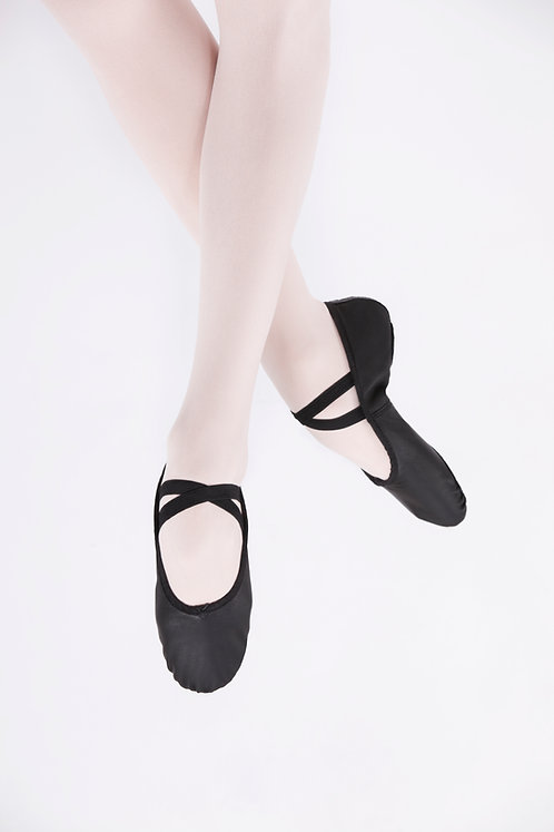 Black Leather Split Sole Ballet Shoes