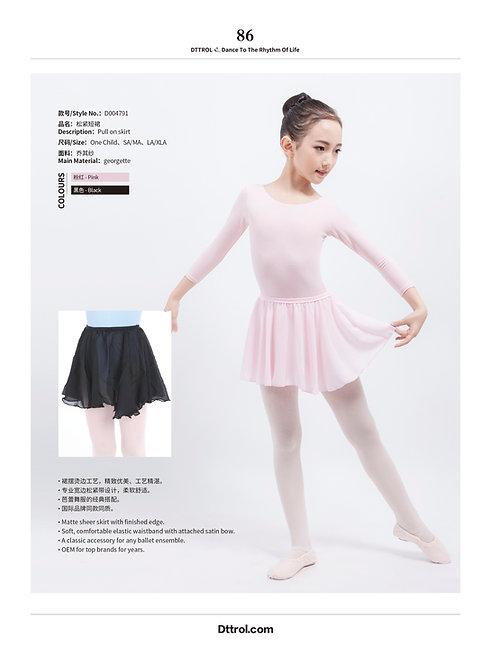 Ballet Skirt Elastic waist pull on Black or Pink