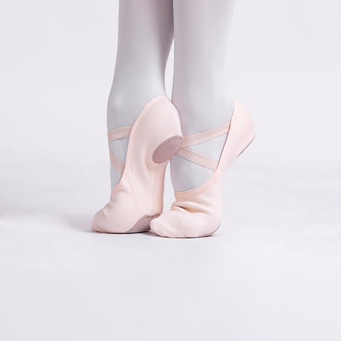 4 Way Stretch Canvas Ballet Shoes Salmon