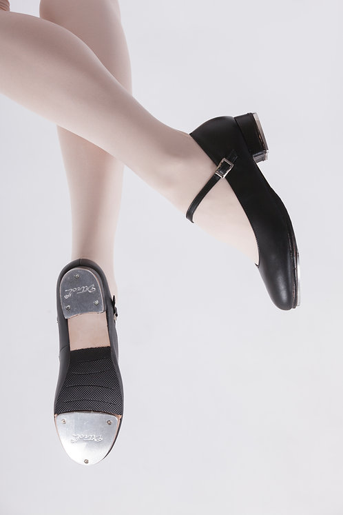 Leather Buckle Tap Shoes Black