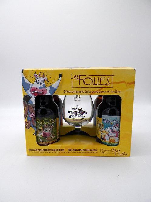 Coffret / Brasserie de Sutter / Les Folies / 4X33cl +1verre