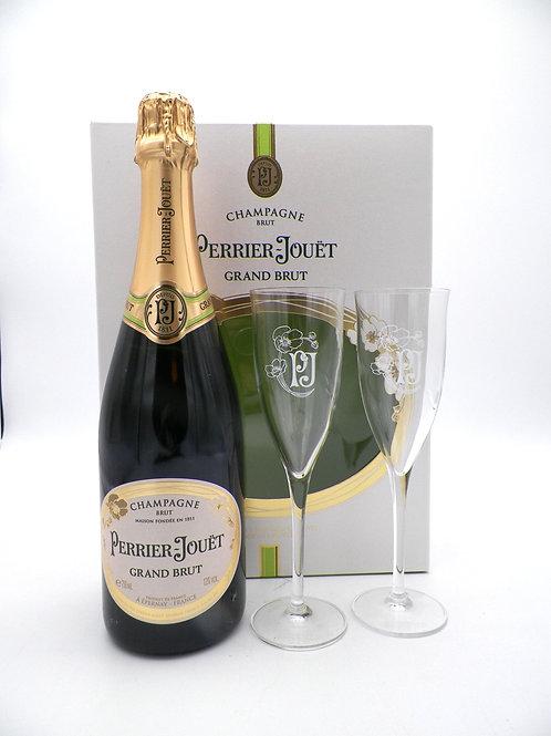 Coffret - Champagne / Perrier Jouet, Grand Brut + 2 Verres