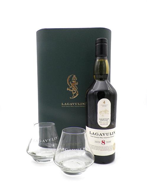 Coffret - Whisky / Lagavulin, 8 ans + 2 verres