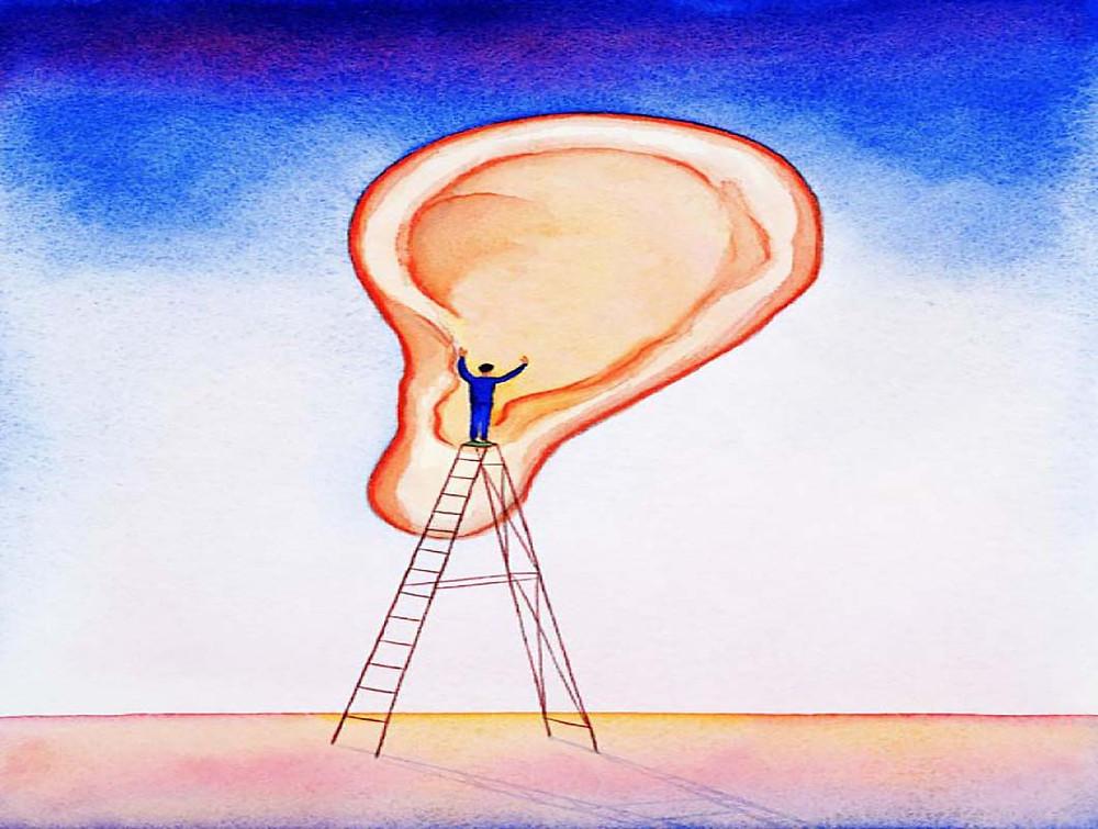 homme en haut d'une échelle parle à une oreille