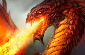 dragon en colère crachant des flammes
