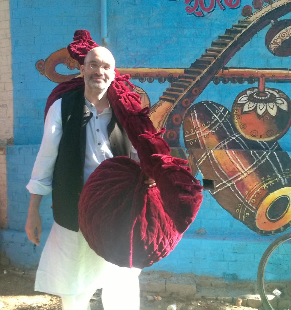 Carsten Wicke with Rudra Veena at Benares Dhrupad Mela 2017