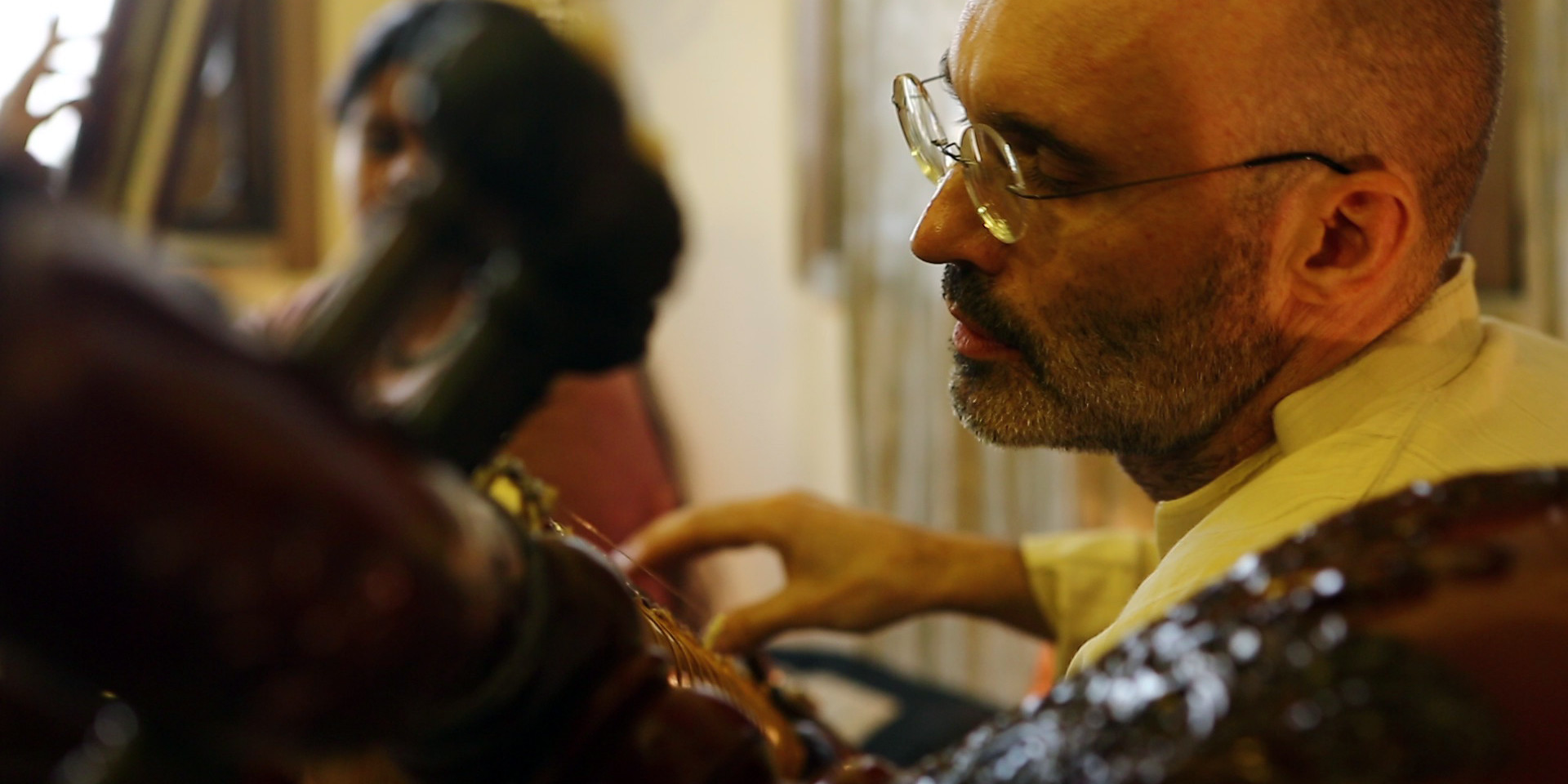 Carsten Wicke with Rudra Veena at Shooting for the Rudra Veena Documentary by Rajesh Bhatia