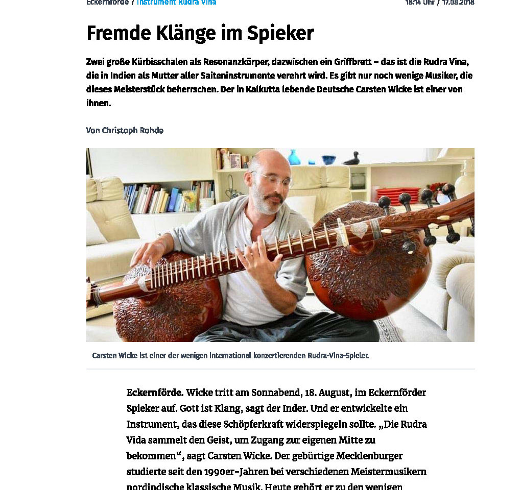 Interview Kieler Nachrichten 18th August 2018