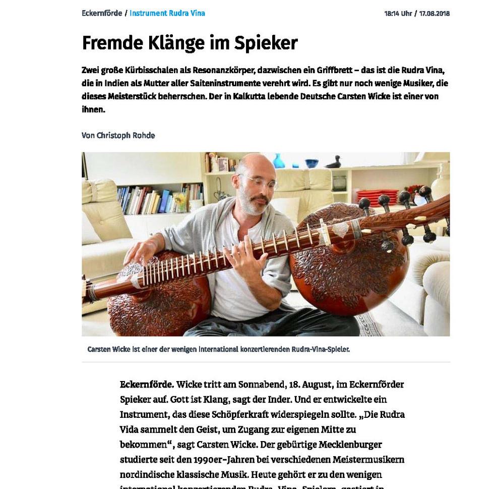 Interview Kieler Nachrichten 18th August 2018