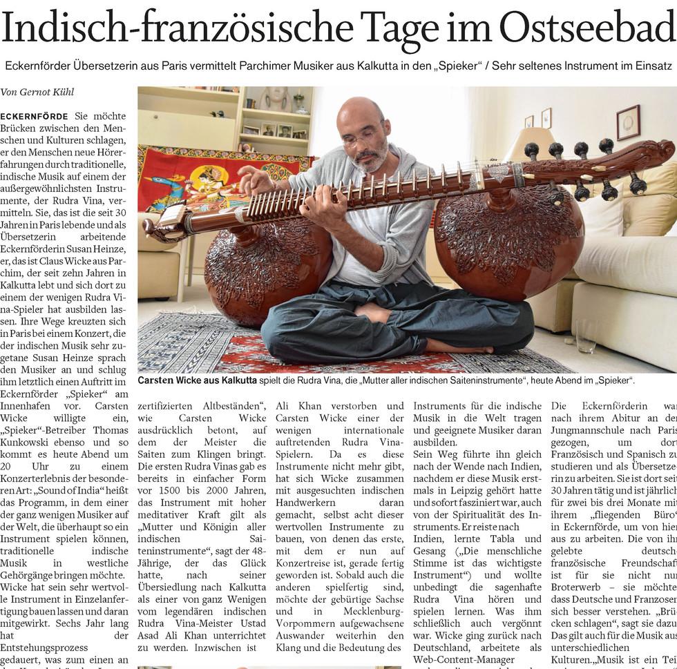 Interview Eckernförder Zeitung 18th August 2018