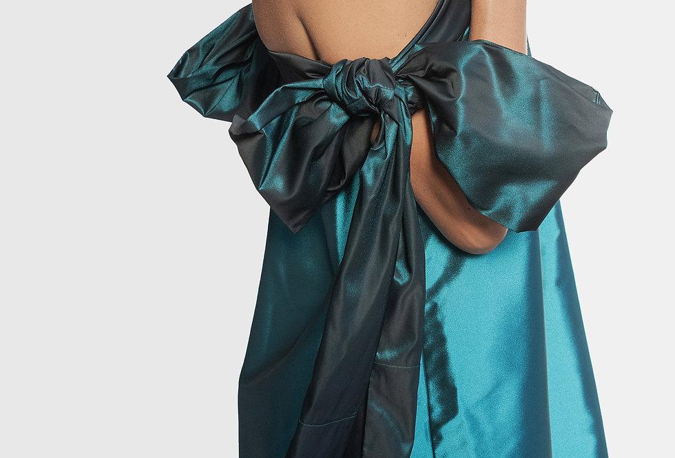 Vestido azul laços
