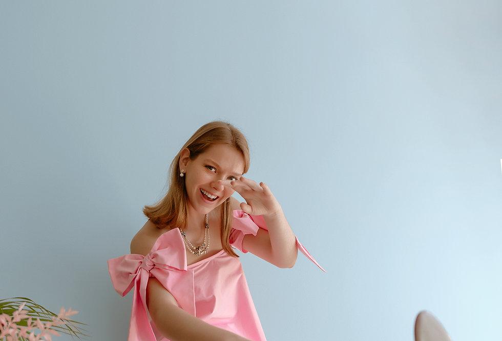 Top laços rosa