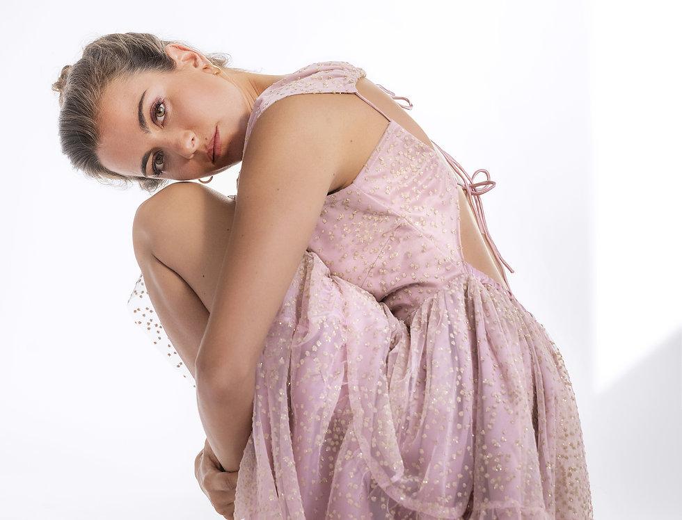 Vestido rosa tule