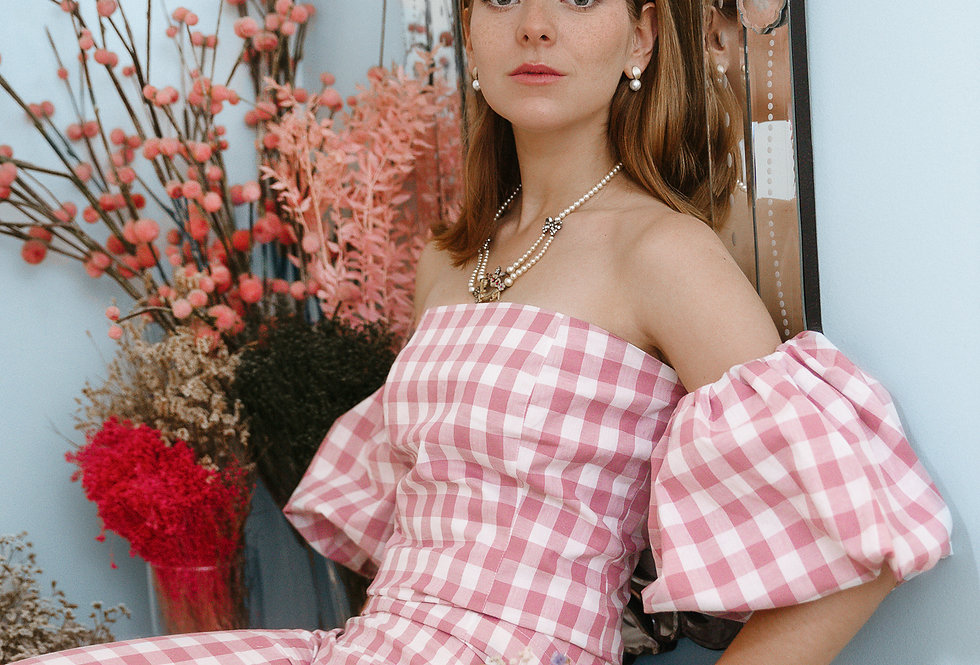 Calças rosa vichy