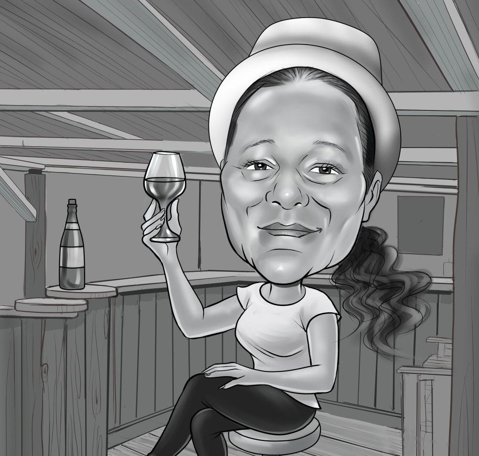 Caricatura BN digital 1 persona