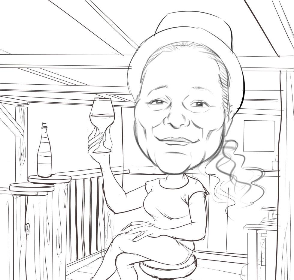 Caricatura BN digital 1 persona boceto