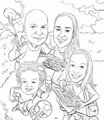 Full color digital 4 personas boceto