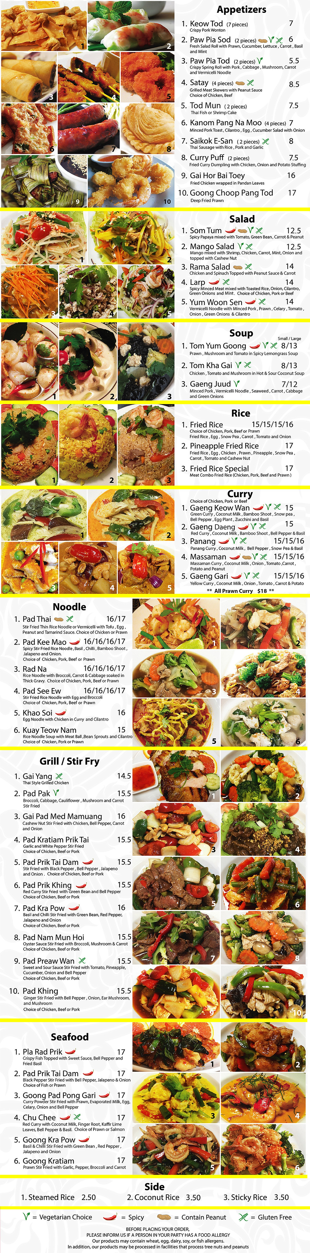 Sawaddee Menu Thai Restaurant in Sherwood Park