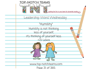 "Leadership Word Wednesday - ""Humility"""
