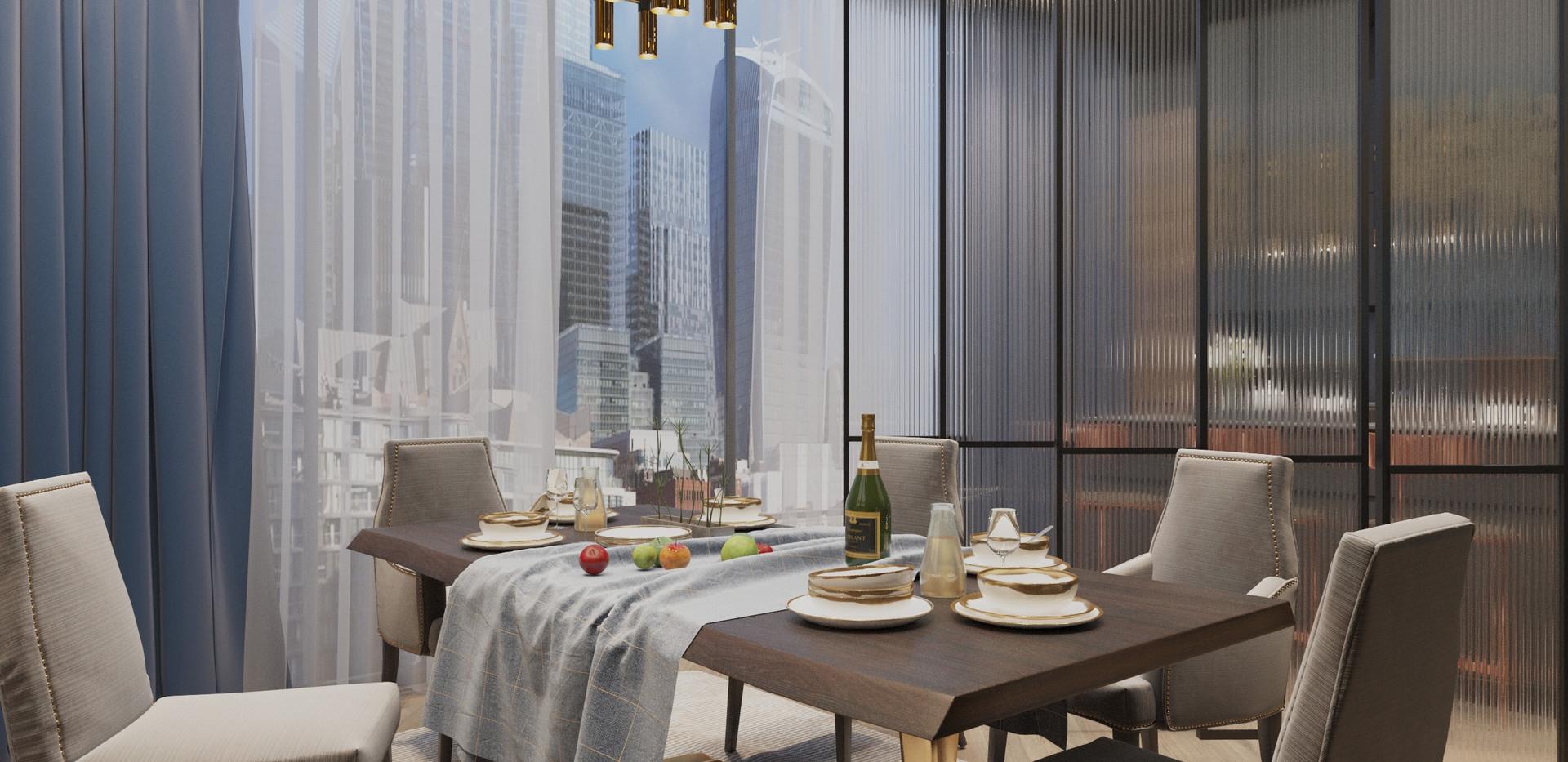 Panoramic flat in London interior design