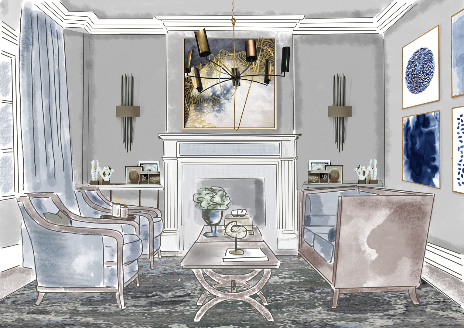 Interior design sketch Anna K Studio