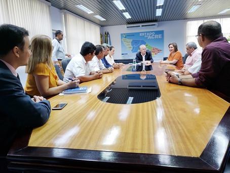 Prefeito Tanizío de Sá se reuniu com Presidente do TCE/AC, Presidente da AMAC e demais Prefeitos