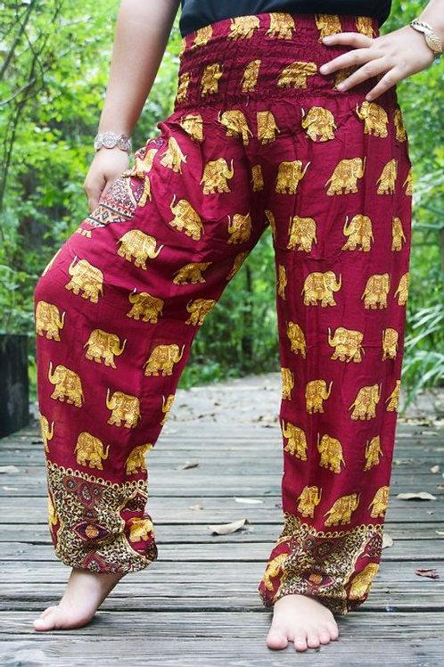 Burgundy ELEPHANT Women Boho Pants Hippie Pants Yoga Pants