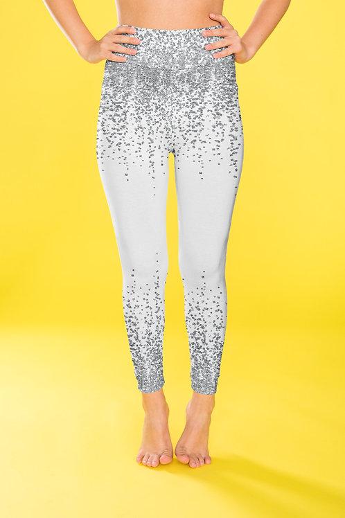 Silver Glitter Leggings, Capris and Shorts